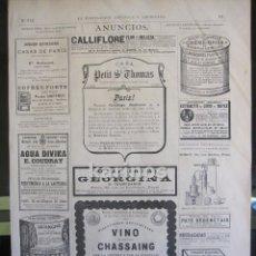 Coleccionismo de Revistas y Periódicos: GRABADO 1880. PUBLICIDAD (295). Lote 67368713
