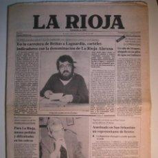 Coleccionismo de Revistas y Periódicos: PERIÓDICO DIARIO LA RIOJA 7 SEPTIEMBRE 1983 - .. CARTELES INDICADORES CON LA DENOMINACIÓN DE ORIGEN. Lote 67632137