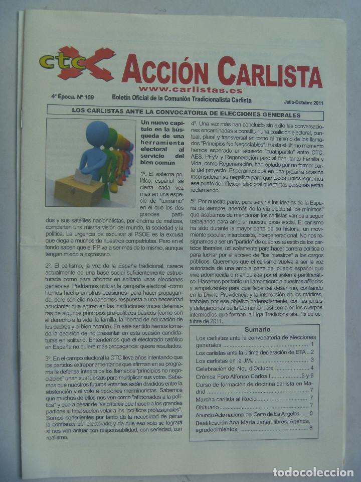 ACCION CARLISTA . BOLETIN OFICIAL COMUNION TRADICIONALISTA CARLISTA . JULIO - OCTUBRE 2011 (Coleccionismo - Revistas y Periódicos Modernos (a partir de 1.940) - Otros)
