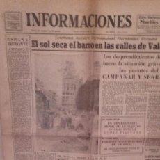 Coleccionismo de Revistas y Periódicos: INFORMACIONES PERIODICO 18 OCTUBRE 1957, RIADA DE VALENCIA, 12 PAGS ....N. Lote 69855689