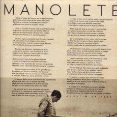 Coleccionismo de Revistas y Periódicos: TOROS 1948 MANOLETE 2 HOJAS REVISTA. Lote 70158069