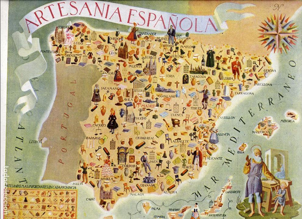 Espa a mapa 1948 artesania espa ola hoja revist comprar for Artesanias de espana