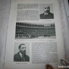Coleccionismo de Revistas y Periódicos: FELIX SUAREZ INCLAN/EL BARON DE MONTE-VILLENA/CORRIDA TOROS ASOCIAC.HOJA REVISTA BLANCO Y NEGRO 1902. Lote 278229803