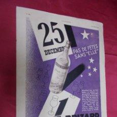 Coleccionismo de Revistas y Periódicos: MARIE BRIZARD. HOJA PUBLICIDAD DE LA REVISTA L`ILLUSTRATION 1934. EN FRANCES.. Lote 74278355