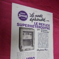 Coleccionismo de Revistas y Periódicos: LE REFLEX SUPERHETERODYNE. HOJA PUBLICIDAD DE LA REVISTA L`ILLUSTRATION 1934. EN FRANCES.. Lote 74279015