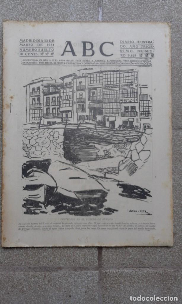 ANTIGUO PERIODICO DIARIO ESPAÑOL ABC AÑO 1934 22 MARZO NUMERO SUELTO 9618 PUERTO BERMEO DESTROZOS (Coleccionismo - Revistas y Periódicos Antiguos (hasta 1.939))