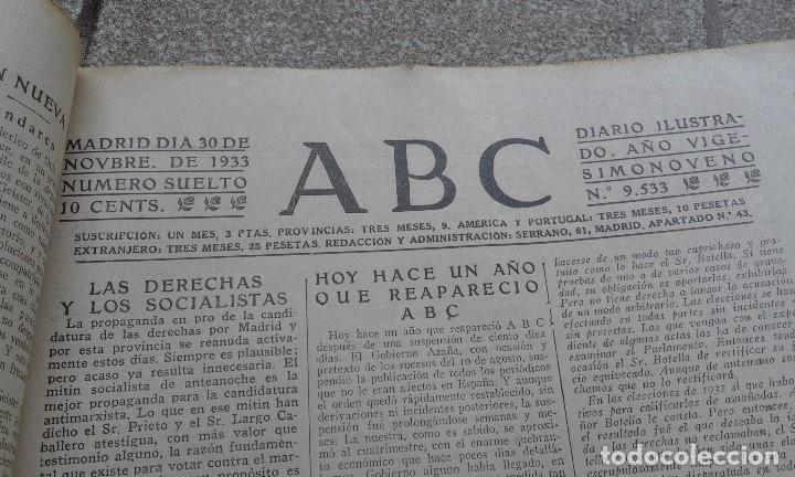 Coleccionismo de Revistas y Periódicos: Antiguo periodico ABC diario español madrid 30 Noviembre 1933 Fraternidad Hispanolusitana - Foto 2 - 75896991