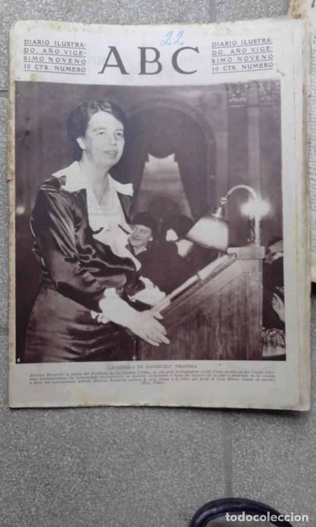 ANTIGUO PERIODICO DIARIO ABC ESPAÑOL MADRID 22 NOVIEMBRE DE 1933 LA SEÑORA DE ROOSVELT ORADORA (Coleccionismo - Revistas y Periódicos Antiguos (hasta 1.939))