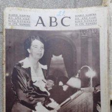 Coleccionismo de Revistas y Periódicos: ANTIGUO PERIODICO DIARIO ABC ESPAÑOL MADRID 22 NOVIEMBRE DE 1933 LA SEÑORA DE ROOSVELT ORADORA. Lote 75899723