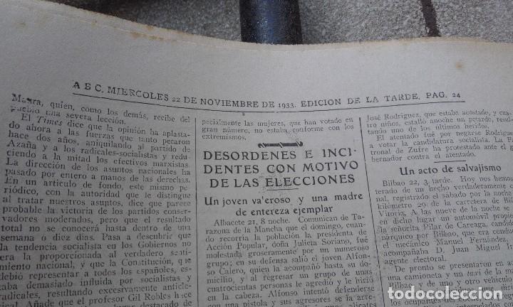 Coleccionismo de Revistas y Periódicos: Antiguo periodico diario abc español madrid 22 noviembre de 1933 la señora de roosvelt oradora - Foto 2 - 75899723
