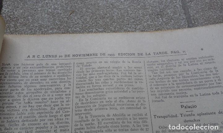 Coleccionismo de Revistas y Periódicos: Antiguo periodico diario español abc 20 novimebre de 1933 derechas y socialistas por madrid - Foto 3 - 75900695