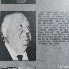 Coleccionismo de Revistas y Periódicos: RECORTE ALFRED HITCHCOCK . Lote 76200695