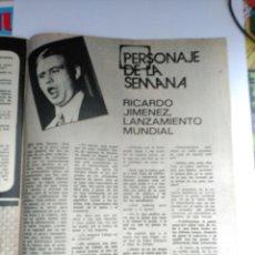 Coleccionismo de Revistas y Periódicos: RECORTE RICARDO JIMENEZ. Lote 76201155