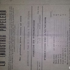 Coleccionismo de Revistas y Periódicos: ANTIGUA REVISTA LA INDUSTRIA PAPELERA -AÑO I- MAYO 1898 NÚMERO 11. Lote 76528755