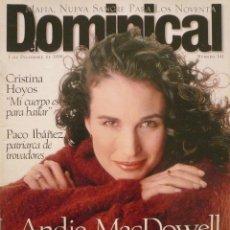 Coleccionismo de Revistas y Periódicos: DOMINICAL / 1 DICIEMBRE 1996 / PORTADA ANDIE MAC DOWELL . Lote 77833141