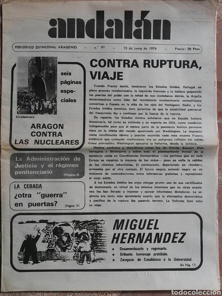 PERIÓDICO ANDALÁN CONTRA RUPTURA VIAJE (Coleccionismo - Revistas y Periódicos Modernos (a partir de 1.940) - Otros)