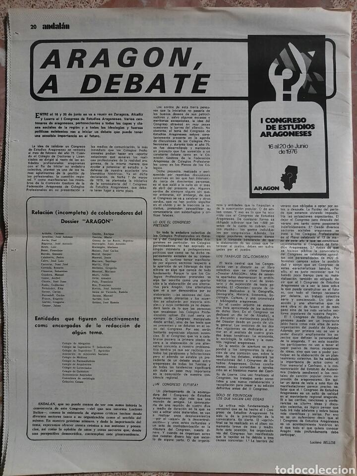 Coleccionismo de Revistas y Periódicos: Periódico Andalán Contra Ruptura Viaje - Foto 2 - 78236285