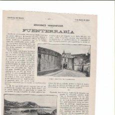 Coleccionismo de Revistas y Periódicos: REPORTAJE REVISTA ORIGINAL 1915. RINCONES VERANIEGOS, FUENTERRABÍA. Lote 78340089