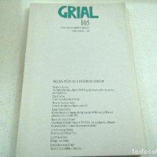 Coleccionismo de Revistas y Periódicos: REVISTA GRIAL-NUMERO 105-XANEIRO,FEBREIRO,MARZO-1990-N. Lote 78584737