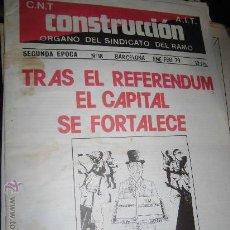 Coleccionismo de Revistas y Periódicos: CNT CONSTRUCCION AIT REVISTA SINDICAL 1979 Nº 8 PERIODICO POLITICO BARCELONA. Lote 37283736