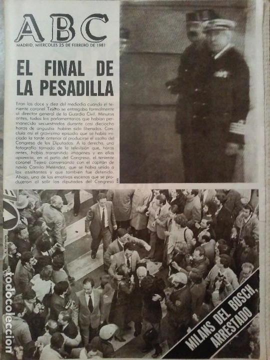 PERIODICO ABC GOLPE DE ESTADO FEBRERO DE 1981 (Coleccionismo - Revistas y Periódicos Modernos (a partir de 1.940) - Otros)