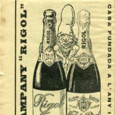 Coleccionismo de Revistas y Periódicos: REVISTA 1930 MANRESA CAVA CHAMPAGNE XAMPANY RIGOL PUBLICIDAD CURIOSA BONITA. Lote 81021616