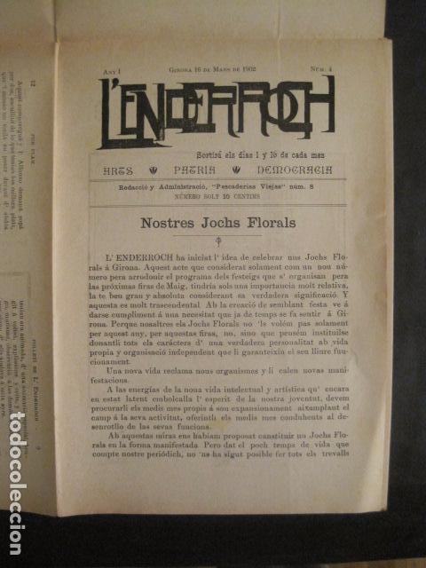 L´ENDERROCH -ARTS PATRIA DEMOCRACIA-GIRONA 1902 - NUM. 4-HOJAS SIN CORTAR-VER FOTOS-(V- 10.203) (Coleccionismo - Revistas y Periódicos Antiguos (hasta 1.939))