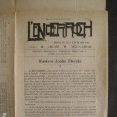 Coleccionismo de Revistas y Periódicos: L´ENDERROCH -ARTS PATRIA DEMOCRACIA-GIRONA 1902 - NUM. 4-HOJAS SIN CORTAR-VER FOTOS-(V- 10.203). Lote 81678612