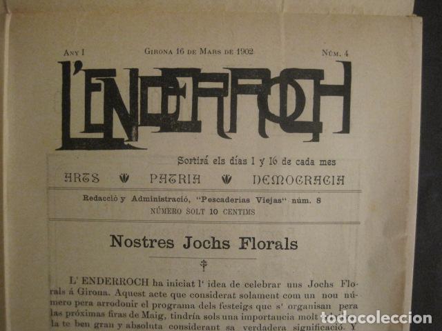 Coleccionismo de Revistas y Periódicos: L´ENDERROCH -ARTS PATRIA DEMOCRACIA-GIRONA 1902 - NUM. 4-HOJAS SIN CORTAR-VER FOTOS-(V- 10.203) - Foto 2 - 81678612
