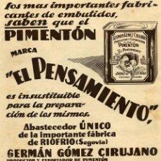 Coleccionismo de Revistas y Periódicos: JARAIZ DE LA VEGA 1925 CACERES PIMENTON EL PENSAMIENTO HOJA REVISTA. Lote 82990708
