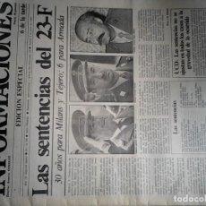 Coleccionismo de Revistas y Periódicos: DIARIO INFORMACIONES 3 JUNIO 1982, EDICION ESPECIAL 6 DE LA TARDE, LAS SENTENCIAS DEL GOLPE. Lote 84884952