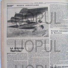 Coleccionismo de Revistas y Periódicos: NUEVO AEROPLANO DE ALUMINIO. AVIACIÓN. 1910. HOJA REVISTA DE EPOCA NM 2/6. Lote 85793984