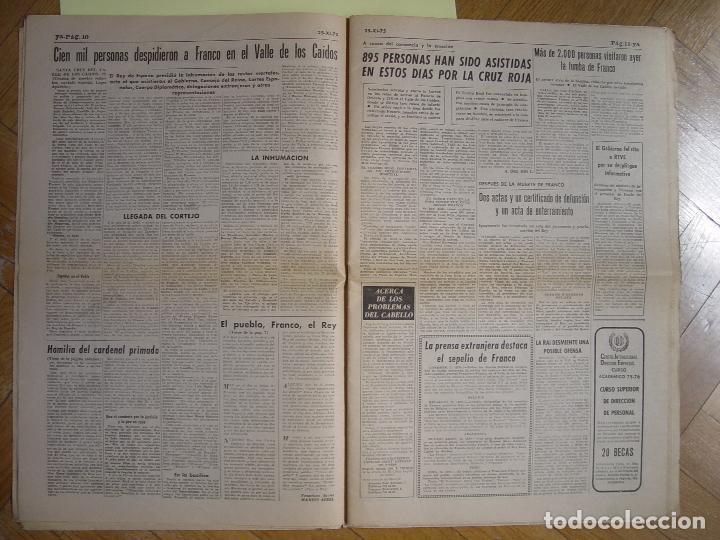 Coleccionismo de Revistas y Periódicos: Periódico YA (25-XI-1975) Entierro Franco, Valle de los Caídos. ¡Periódico histórico! Coleccionista - Foto 6 - 86457380