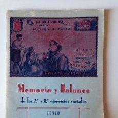 Coleccionismo de Revistas y Periódicos: EL HOGAR DEL PROVENIR. MEMORIA Y BALANCE 1927-1929. PALMA MALLORCA. FOTOGRAFIAS. Lote 86701240