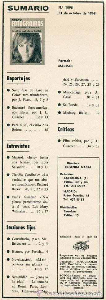 Coleccionismo de Revistas y Periódicos: REVISTA FOTOGRAMAS - Nº 1098 - 1969 - MARISOL, CLAUDIA CARDINALE, MÁQUINA!, FRANK SINATRA - Foto 2 - 86929960