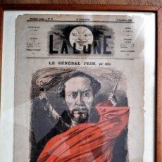 Coleccionismo de Revistas y Periódicos: LA LUNE Nº 79 - 8 SEPTIEMBRE 1867 - PORTADA EL GENERAL PRIM - 33 X 47 CM. Lote 87142824