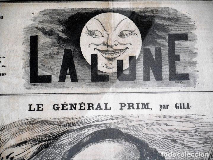 Coleccionismo de Revistas y Periódicos: LA LUNE Nº 79 - 8 SEPTIEMBRE 1867 - PORTADA EL GENERAL PRIM - 33 X 47 CM - Foto 2 - 87142824