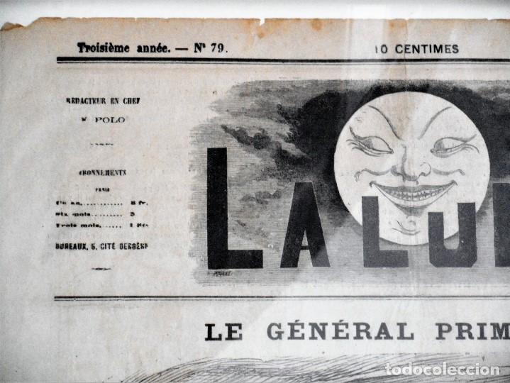 Coleccionismo de Revistas y Periódicos: LA LUNE Nº 79 - 8 SEPTIEMBRE 1867 - PORTADA EL GENERAL PRIM - 33 X 47 CM - Foto 3 - 87142824