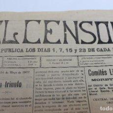Coleccionismo de Revistas y Periódicos: EL CENSOR, DIARIO Nº 24, AÑO II, ORIHUELA, ALICANTE, MAYO 1907. Lote 87174944