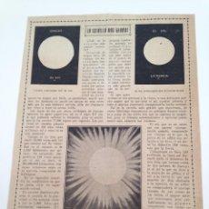 Coleccionismo de Revistas y Periódicos: HOJA REVISTA ORIGINAL 1918. LA ESTRELLA MAS GRANDE, EL SOL. Lote 87366136
