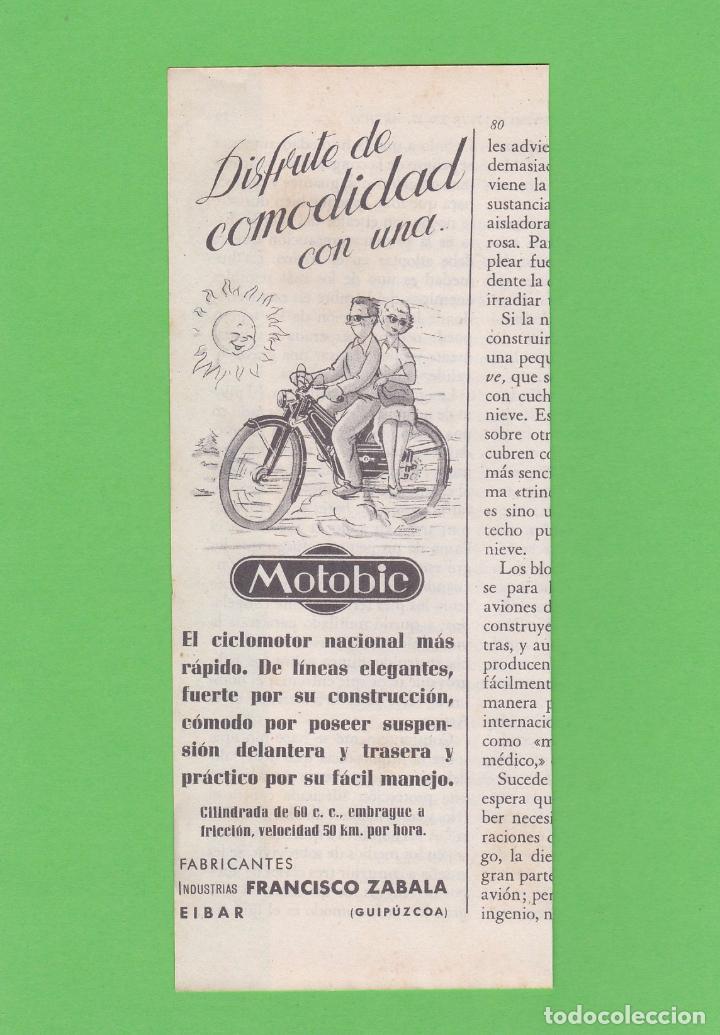 Publicidad 1954  anuncio motobic  ciclomotor  i - Sold