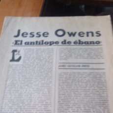 Coleccionismo de Revistas y Periódicos: JESSE OWENS EL ANTILOPE DE EBANO - MARCA PAGINAS DE LA 1 A LA 8. Lote 87386636