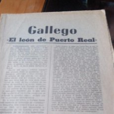 Coleccionismo de Revistas y Periódicos: GALLEGO EL LEON DE PUERTO REAL - MARCA PAGINAS DE LA 1 A LA 8. Lote 87386648
