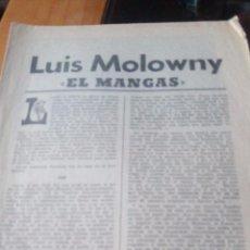Coleccionismo de Revistas y Periódicos: LUIS MOLOWNY EL MANGAS - MARCA PAGINAS DE LA 1 A LA 8. Lote 87386656