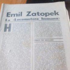 Coleccionismo de Revistas y Periódicos: EMIL ZATOPEK LA LOCOMOTORA HUMANA - MARCA PAGINAS DE LA 1 A LA 8. Lote 87386672