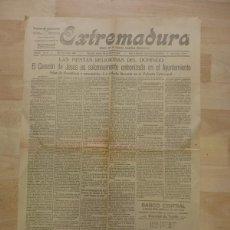 Coleccionismo de Revistas y Periódicos: PERIODICO EXTREMADURA, 28 DE ABRIL DE 1925, 2 HOJAS, RARISIMO. Lote 88107364