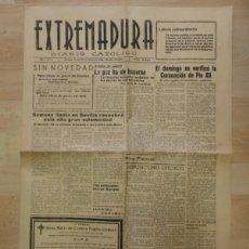Coleccionismo de Revistas y Periódicos: PERIODICO EXTREMADURA, GUERRA CIVIL, 14 DE MARZO DE 1939,4 PAGINAS. Lote 88108836