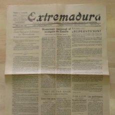 Coleccionismo de Revistas y Periódicos: CACERES, PERIODICO EXTREMADURA, 9 DE MARZO DE 1928, 4 PAGINAS. Lote 88343924