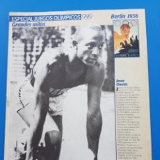 Coleccionismo de Revistas y Periódicos: ESPECIAL JUEGOS OLÍMPICOS. GRANDES MITOS - RECORTE SUPERTELE: JESSE OWENS OLIMPIADAS BERLÍN 1936. Lote 88826698