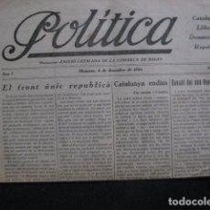 Colecionismo de Revistas e Jornais: POLITICA- CATALUNYA LLIBERTAT DEMOCRACIA REPUBLICA-BAGES-MANRESA 1930-VEURE FOTOGRAFIES- (V-11.331). Lote 89072700